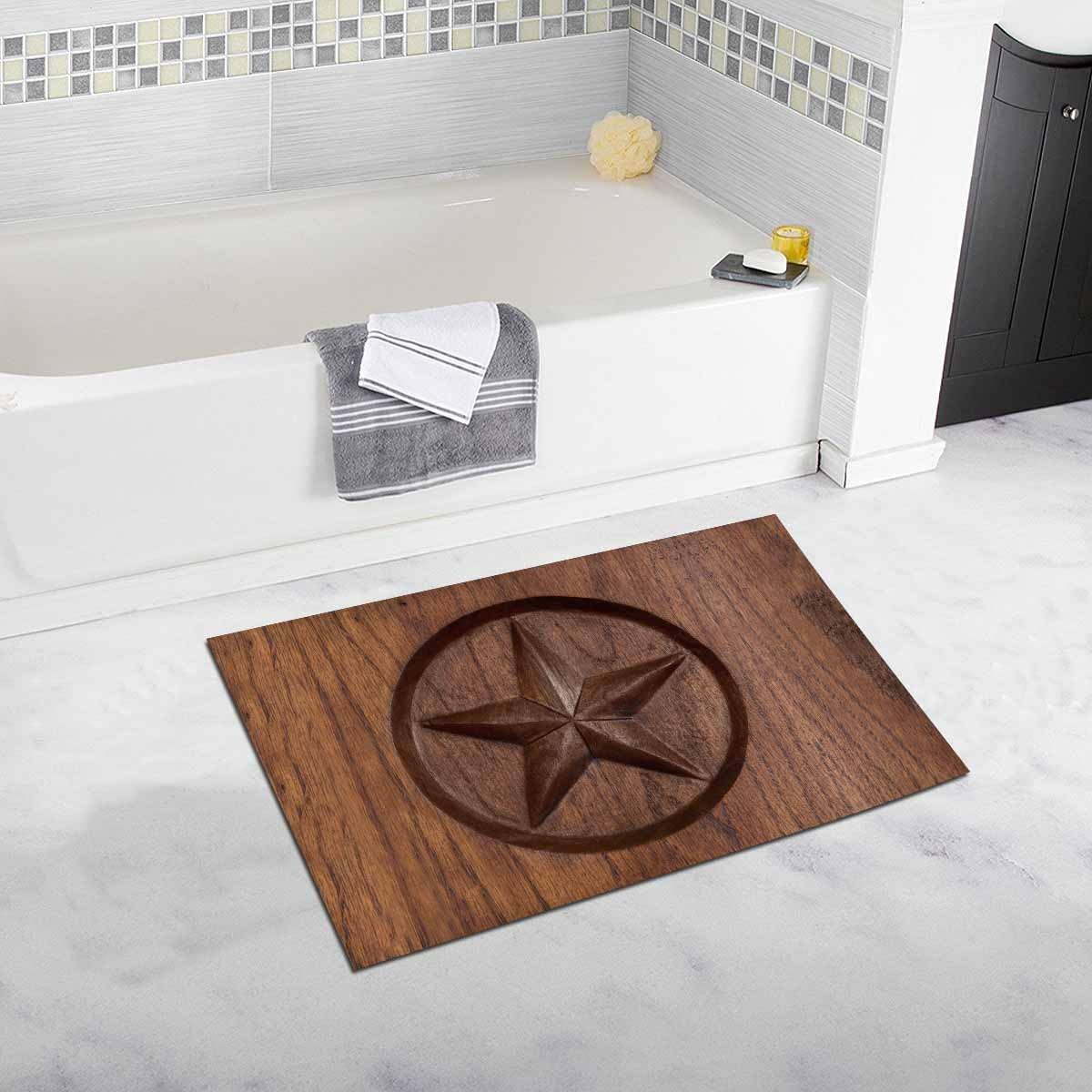 INTERESTPRINT Western Texas Star in Wood Decor Non Slip Bath Rug Mat Absorbent Bathroom Floor Mat Doormat Large Size 20 x 32 Inches