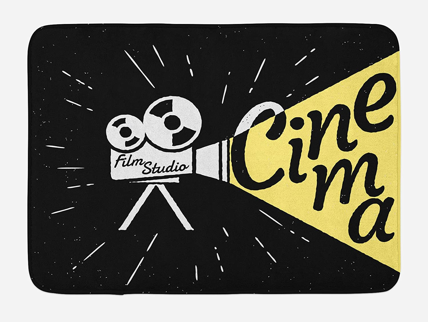 Ambesonne Movie Theater Bath Mat, Movie Projector Sketch with Grunge Cinema Lettering on Black Backdrop, Plush Bathroom Decor Mat with Non Slip Backing, 29.5