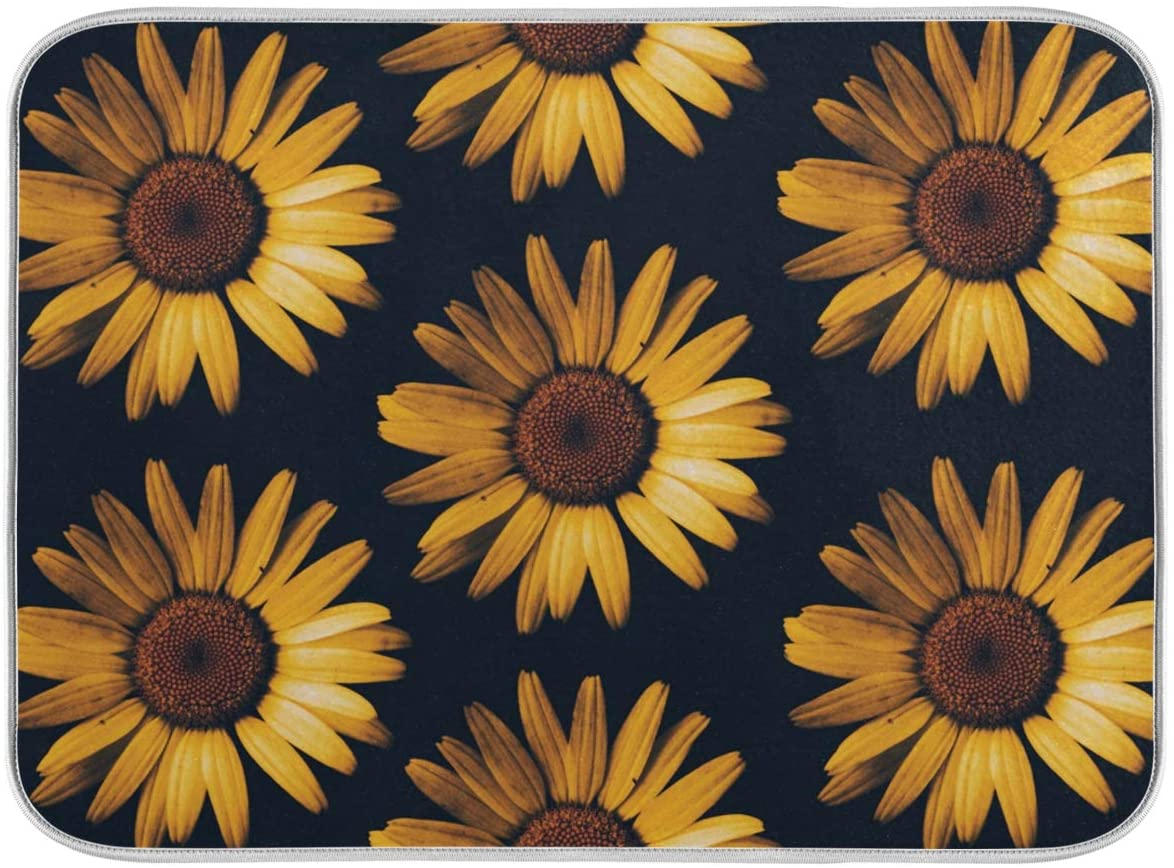 Dish Drying Mat for Kitchen Counter Absorbent Reversible Microfiber Sink Mats Large Sunflowers Black Background 18x24 inch