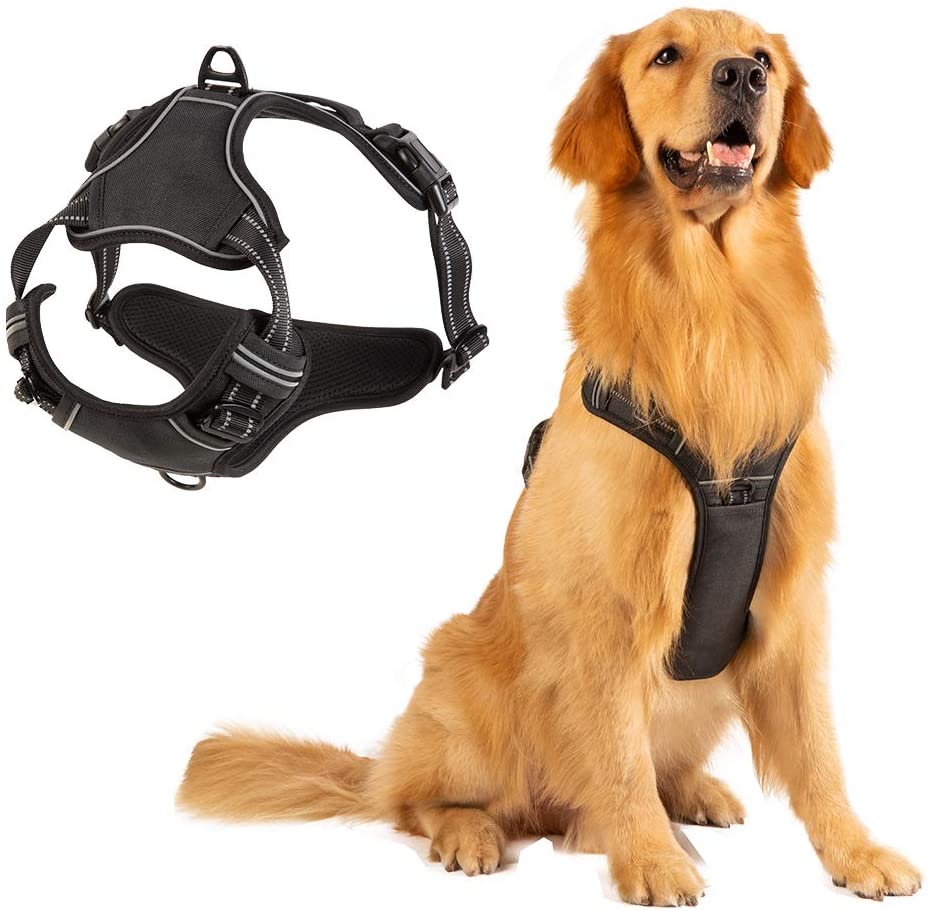 PUPPYGOO Dog Harness,No Pull Pet Harness,Reflective No Choke,Adjustable Vest for Outdoor,Soft Padded Dog Vest with Easy Control Handle for Small to Large Dogs