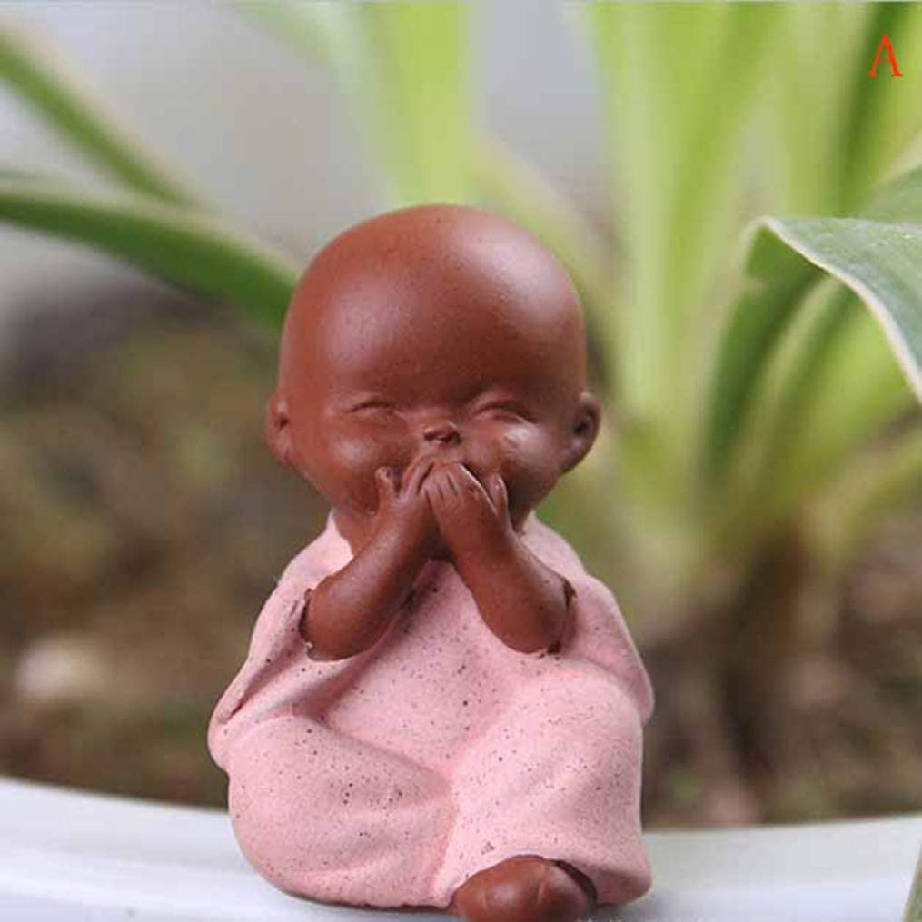 Ceramic Ornaments Monk Small Buddha Statue Monk Figurine Yoga Mandala Tea Pet Purple Ceramic Crafts Decorative