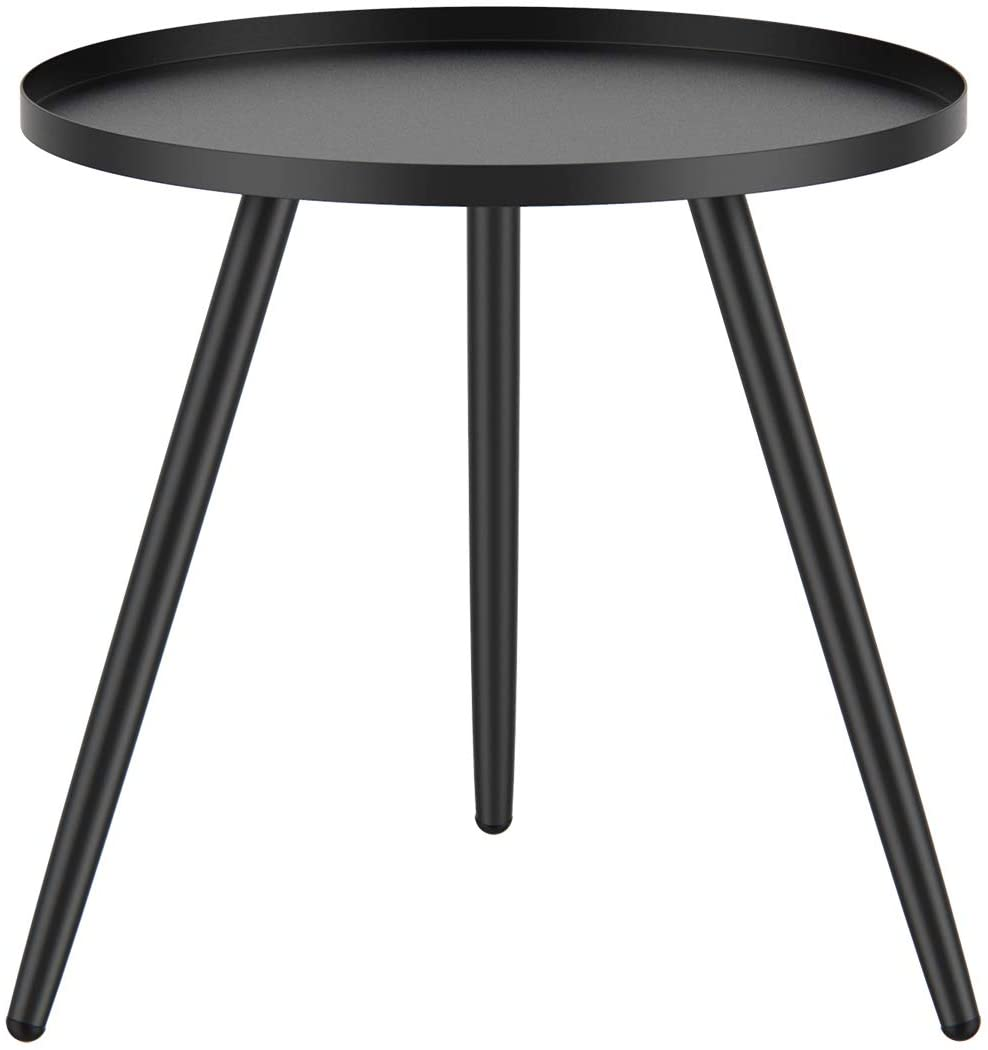 Tray Metal End Table,Small Round Side Table Foldable Anti-Rust and Waterproof Outdoor & Indoor Accent Coffee Table for Small Spaces,Bedroom,Patio,Black
