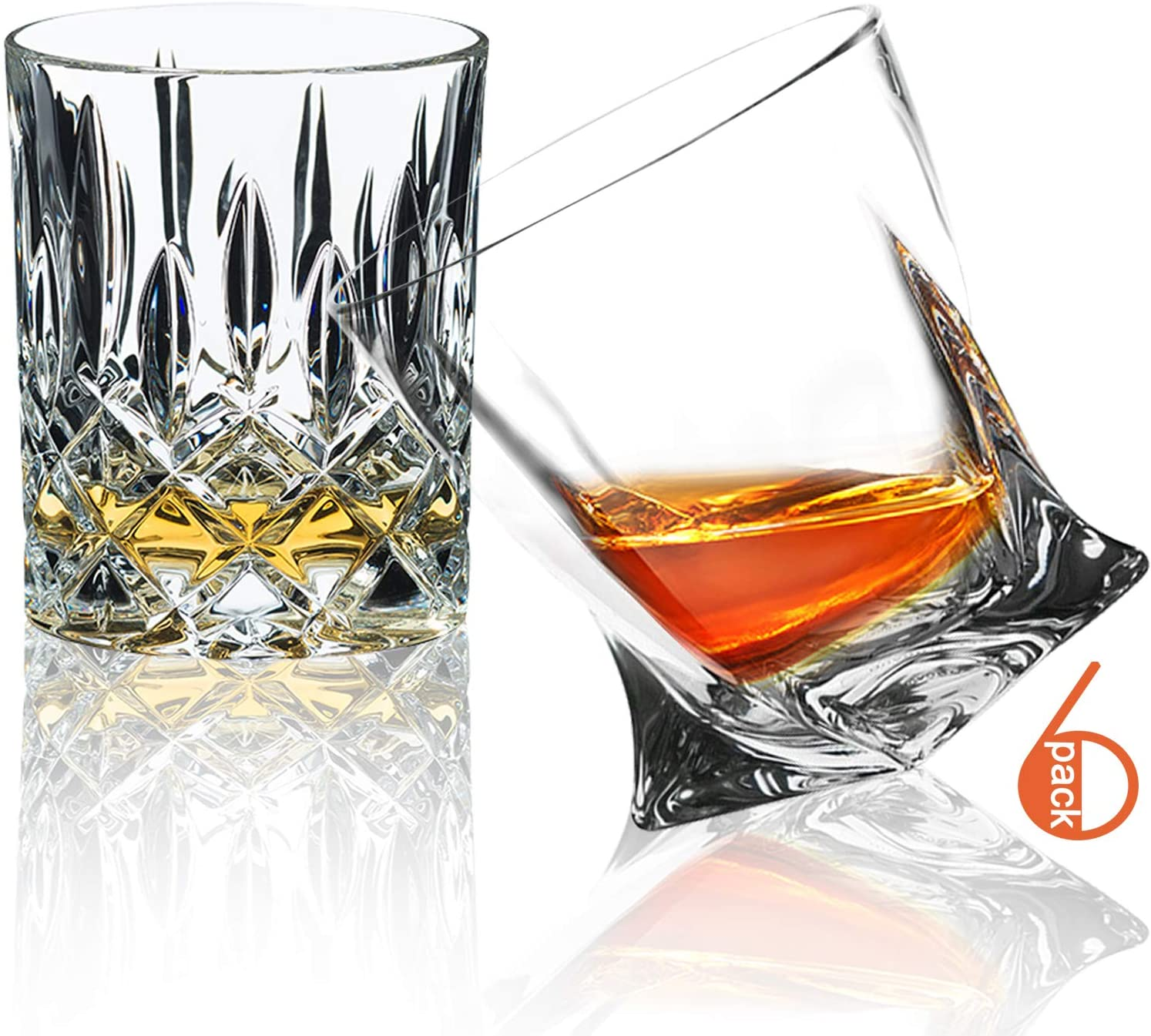 Whiskey Glasses,6 Pack,10 OZ Scotch Glasses,Tumblers for Drinking Bourbon/Scotch Glasses/Bar Whiskey Glasses/Glassware Gift Set/ 2 styles (Premium)