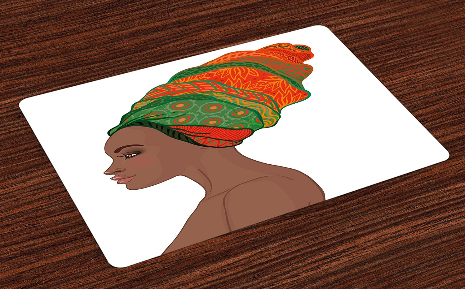 Ambesonne African Place Mats Set of 4, Afro Female Young Beauty Traditional Hair Dress Turban Ornate, Washable Fabric Placemats for Dining Room Kitchen Table Decor, Chocolate Scarlet