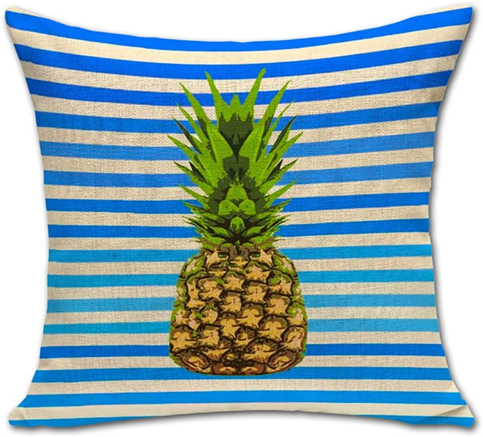 ChezMax Pineapple Cushion Cover Cotton Linen Throw Pillow Case Sham Square Pillowcase for Seniors Bedroom Sofa Couch Rocking Chair Seat