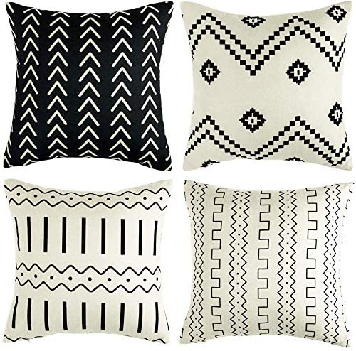 Throw Pillow Covers Set of 4 Pillow Covers Decorative 100% Cotton Linen Modern Design Stripes Geometric for Sofa Couch 18x18 Inch White and Black