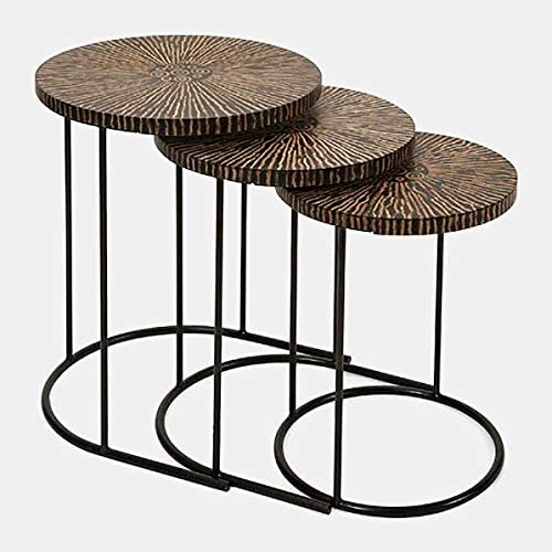 Iron Base End Table with Coconut Shells - 3 Piece Nesting End Table Set - Brown