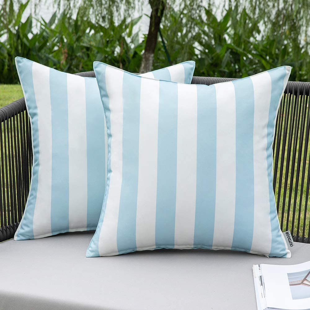 MIULEE Pack of 2 Decorative Outdoor Waterproof Throw Pillow Covers Stripe Lumbar Pillowcases Modern Cushion Cases for Patio Couch Bench 18 x 18 Inch Light Blue and White