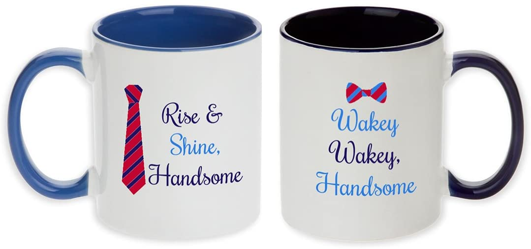 Unique Pair of Rise & Shine Handsome + Wakey Wakey Handsome Gift Pair Mugs! (Set of 2 pcs)