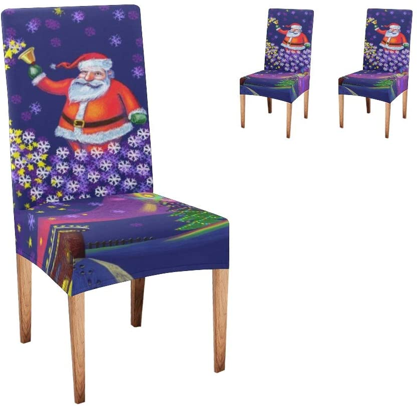 CUXWEOT Chair Covers for Dining Room Christmas Santa Claus Seat Covers Slipcovers for Party Decor (Set of 2)