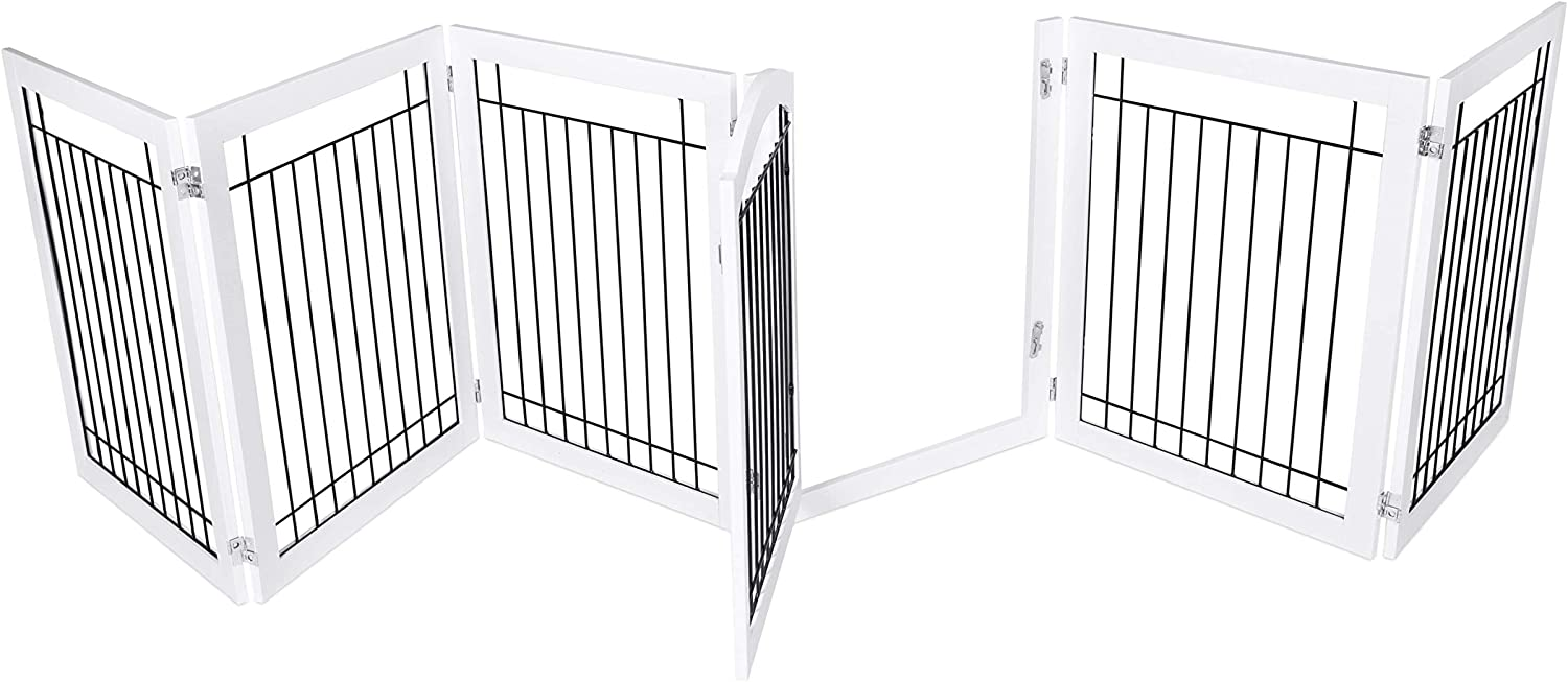 BIRDROCK HOME Indoor Dog Gate with Door - 6 Panel - 30 Inch Tall - Enclosure Kennel Pet Puppy Safety Fence Pen Playpen - Durable Wooden and Wire - Folding Z Shape Free Standing