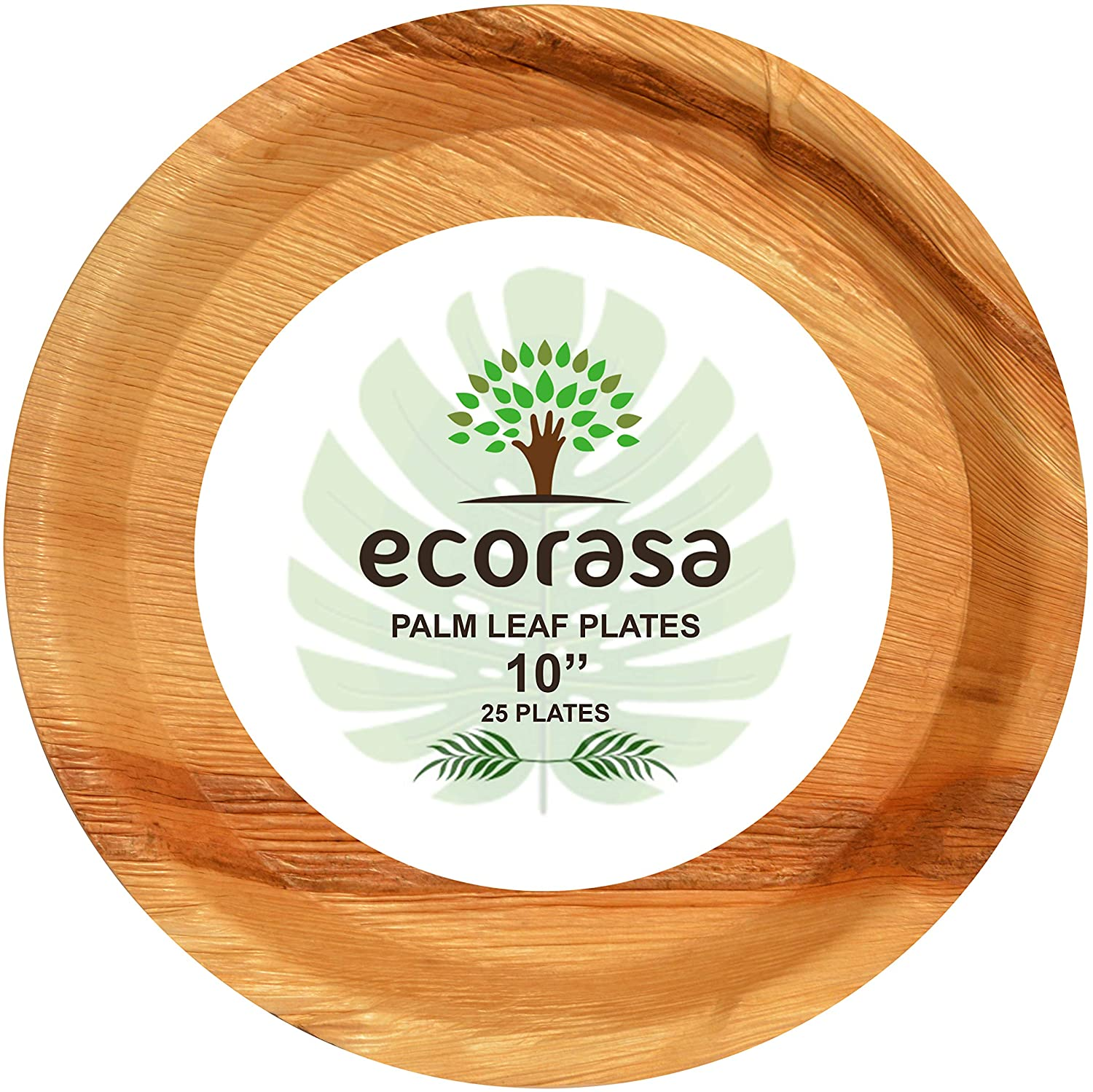ecorasa -Areca Palm Leaf Plates- Eco-friendly, Bio-degradable, Disposable plates - Elegant and Sturdy Plates for Special Events like Wedding, Camping, Hiking - Pack of 25 - (10