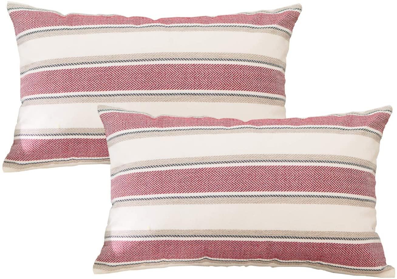 NATUS WEAVER 2 Pcs Stripe Pillow Case Soft Linen Rectangle Decorative Throw Cushion Cover Pillowcase with Hidden Zipper for Sofa 12 x 20
