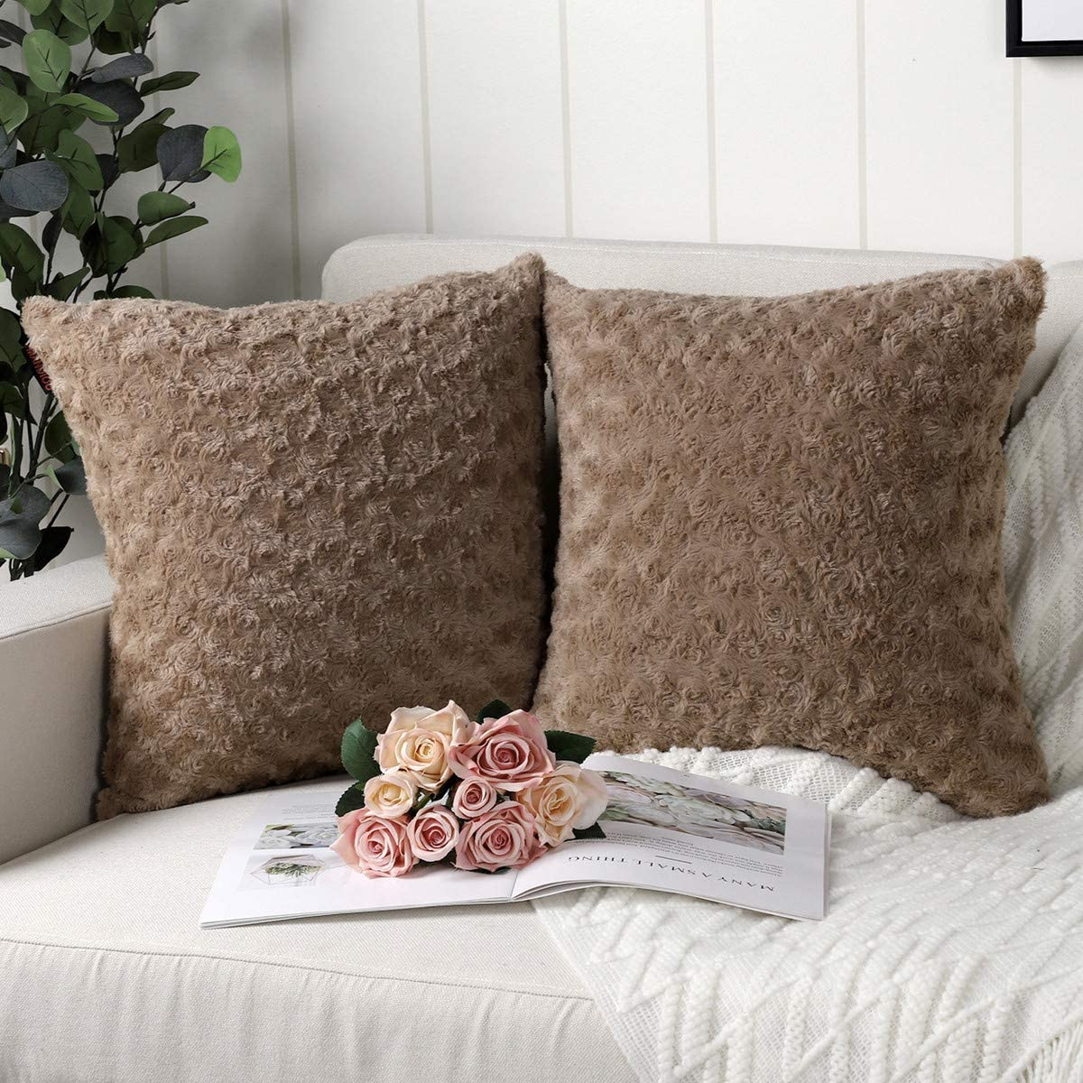 Mandioo Pack of 2 Brown Faux Fur 3D Flower Pattern Fuzzy Cozy Soft Decorative Throw Pillow Covers Set Cushion Cases Pillowcases for Couch Sofa Bedroom Car 20x20 Inches