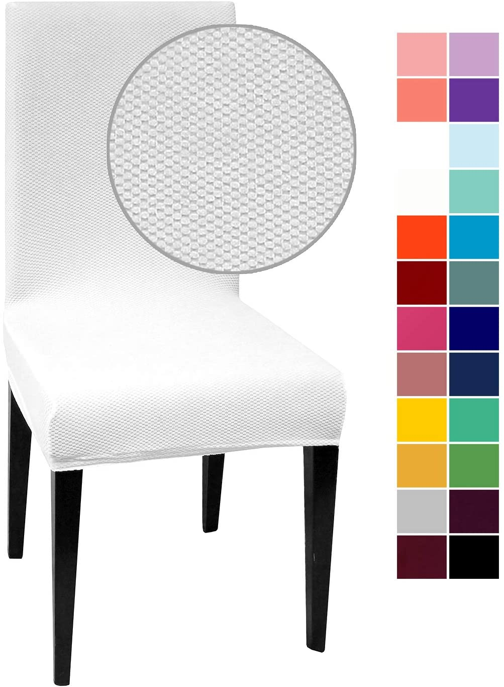 White Jacquard Spandex Dining Chair Covers - 4 PCS Stretch Removable Washable Dining Chair Slipcovers (White Jacquard, 4)