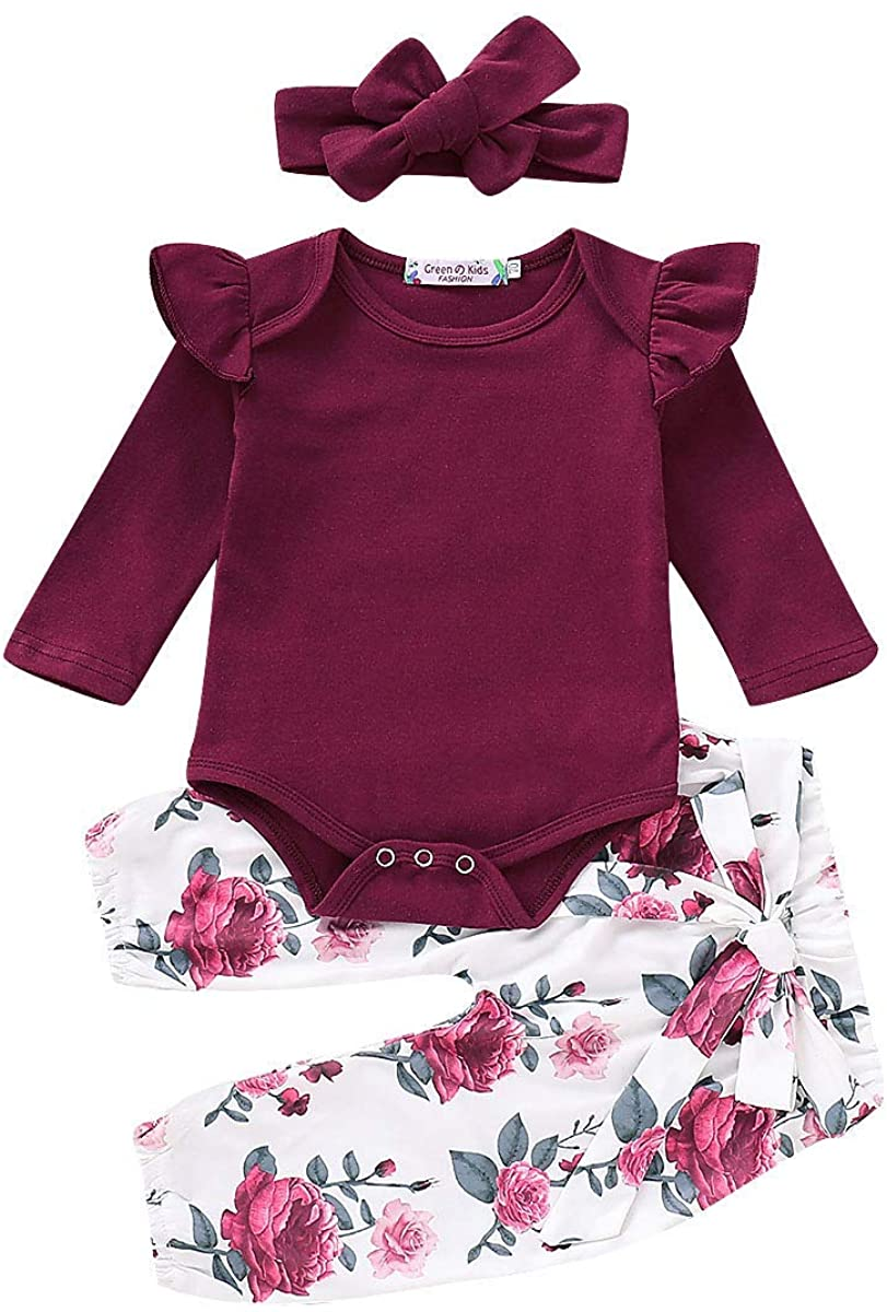 3pcs Newborn Infant Toddler Baby Girls Long Sleeves Romper Bodysuit Floral Harlan Pants Headband Outfits