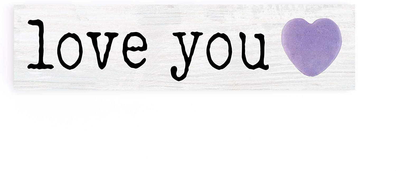 P. Graham Dunn Love You Purple Heart 6 x 1.5 Pine Wood Little Toothpick Sign