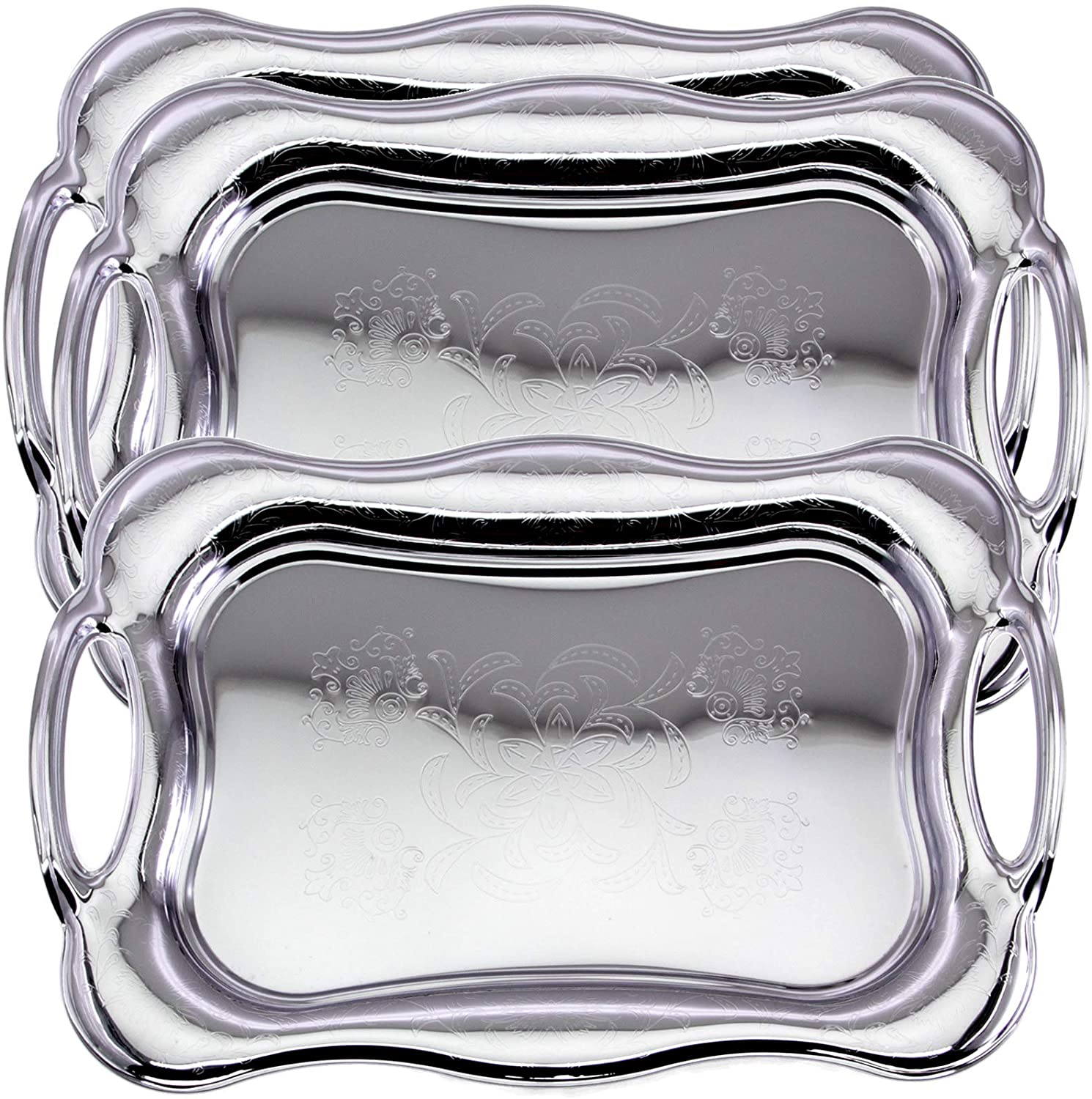 Maro Megastore (Pack of 3) 18 inch x 12.2 inch Rectangular Chrome Plated Serving Tray with Handle Floral Engraved Vintage Classic Design Mirror Plate Platter Holiday Wedding Buffet Food Event TLA-393