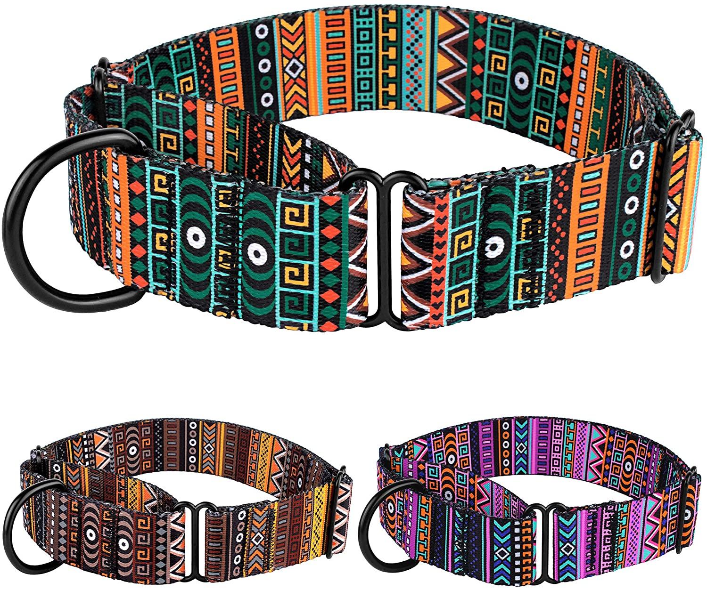 CollarDirect Martingale Collars for Dogs Heavy Duty Tribal Pattern Adjustable Soft Safety Training Nylon Wide Pet Collar Medium Large