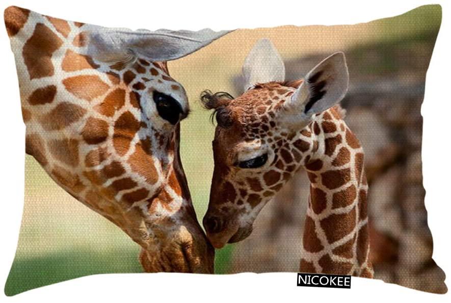 Nicokee Throw Pillow Cover Lovely Giraffe Mom and Baby Decorative Pillow Case Home Decor 20x12 Inches Pillowcase