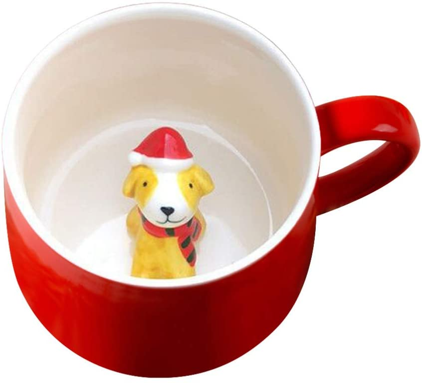 UPKOCH Christmas Coffee Mugs Ceramics 3D with Lid Cute Cartoon Cup for Home Office Kitchen 400ml (Small Dog, Red)