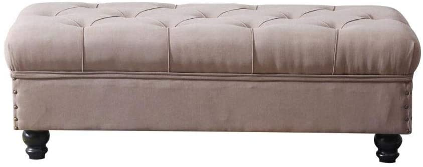 Upholstered Rectangle Storage Ottoman, Living Room Sofa Bench Bedroom Bed End Stool HENGXIAO (Color : #1, Size : 80cm)