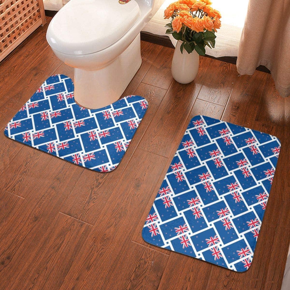 NiYoung Bathroom Mat Sets 2 Piece Rugs New Zealand Flag Memory Foam Mat Set Matches Anti-Skid Toilet Seat Cover Bath Mat