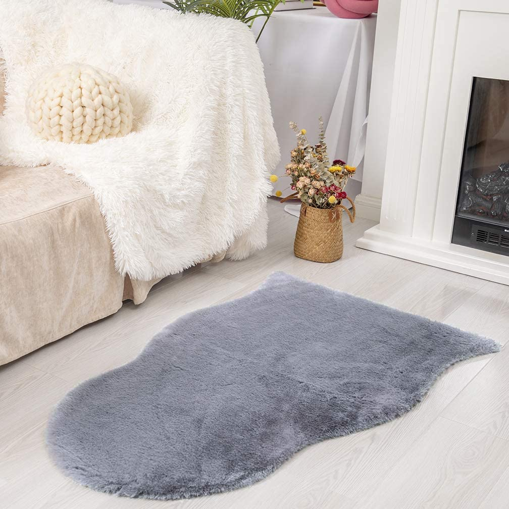 Ultra Soft Faux Rabbit Fur Chair Couch Cover Area Rug for Bedroom Floor Sofa Living Room (2 x 3 ft Sheepskin, Grey)