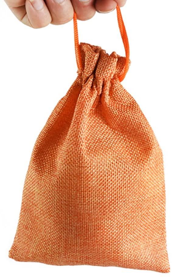 UEETEK 5pcs Dog Treat Pouch Linen Tote Bag with Drawstring Carry Snacks Pet Train Bag