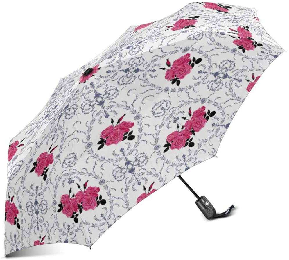 INTERESTPRINT Beautiful Purple Rose with Baroque Background Ornamental Illustration Windproof Automatic Folding Travel Umbrella, Lightweight Compact Auto Open and Close Umbrella with UV Protection