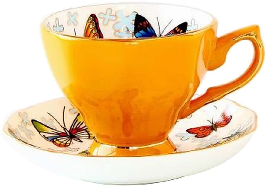 Alien Storehouse [Yellow] Exquisite Demitasse Cup Coffee Cup Espresso Cup and Saucer