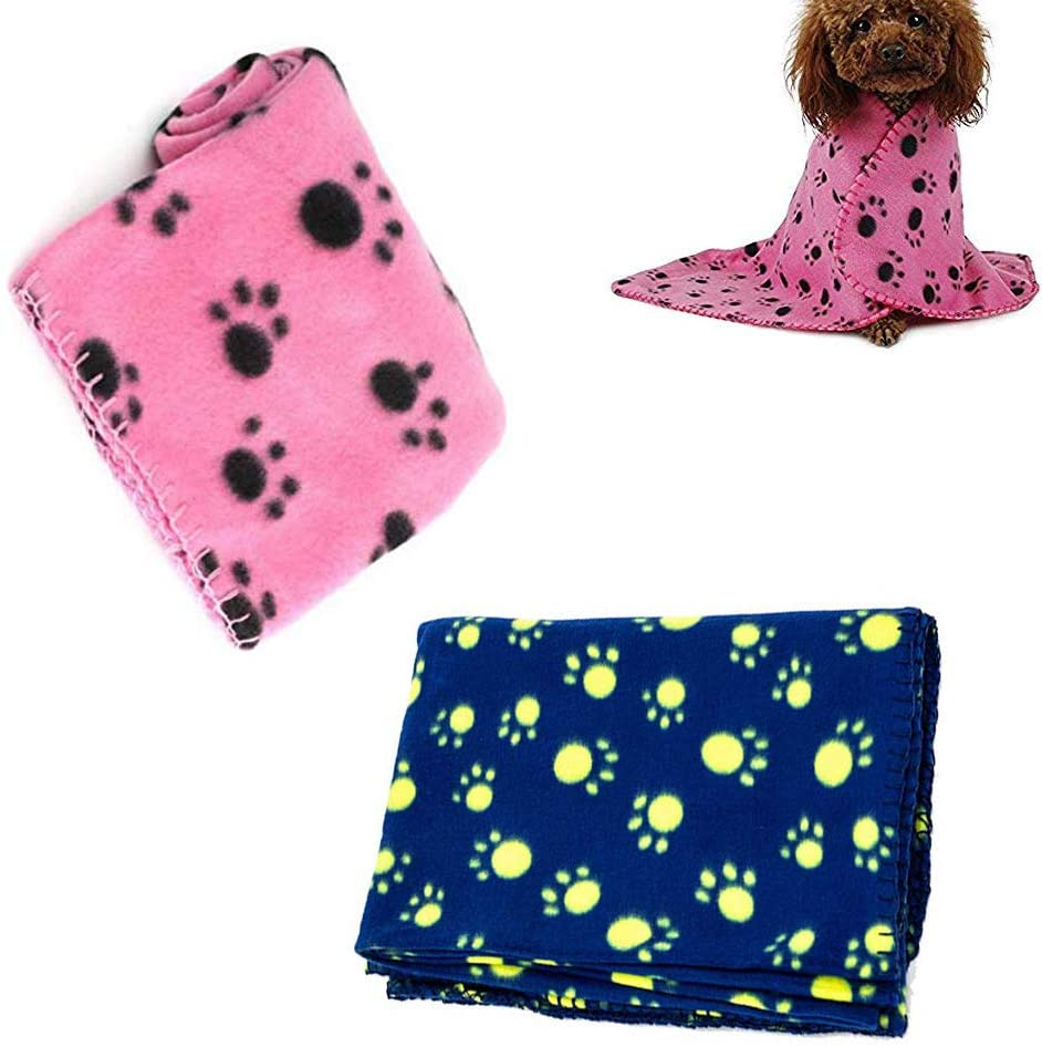JISTL Pet Blanket Fleece for Cat & Dog Sleep Mat Bed Cover with Paw Print,Soft Warm Blanket for Hamster Puppy and Other Animals
