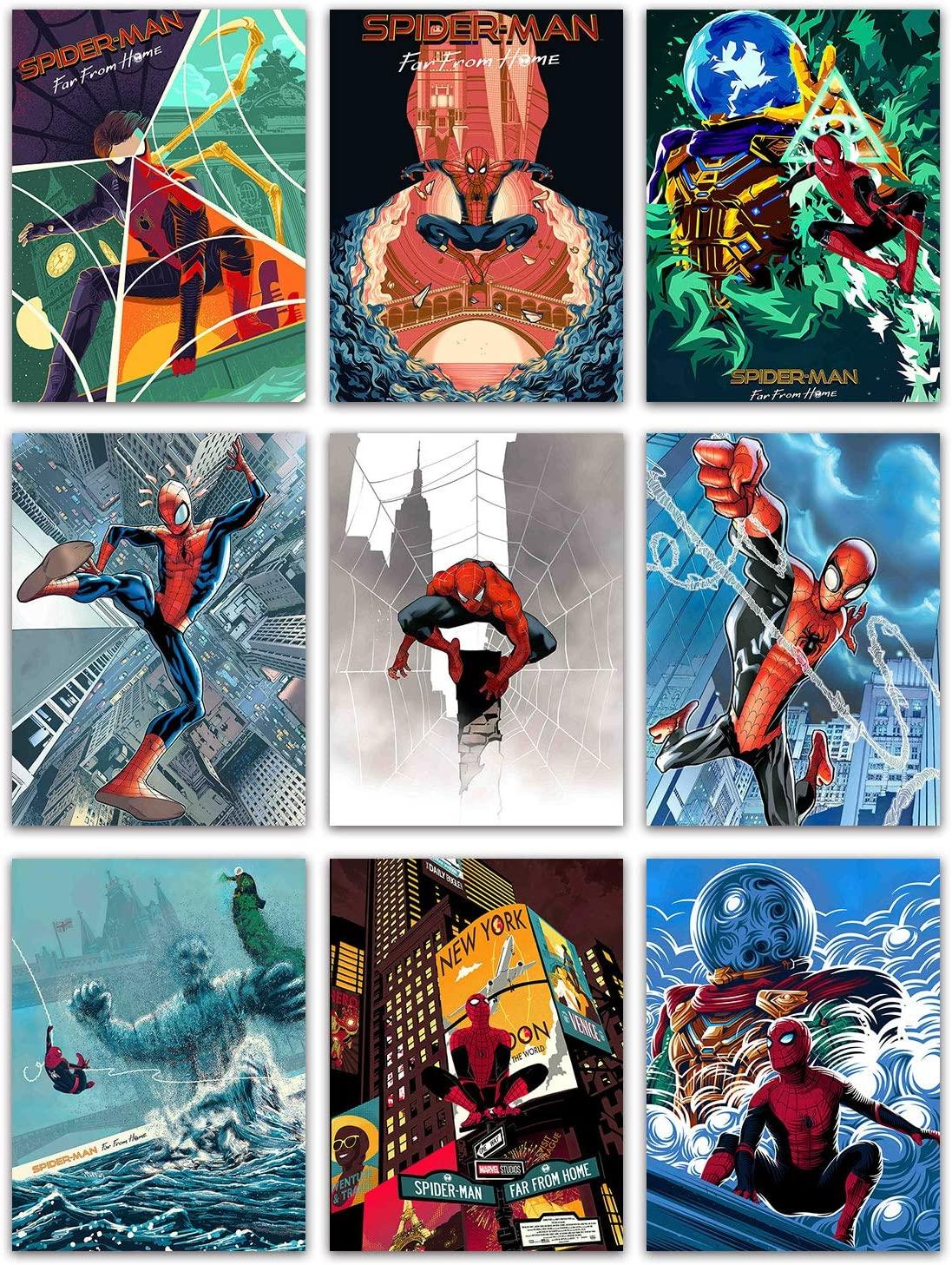 Spiderman Printed Wall Art Poster - Set of 9, (18