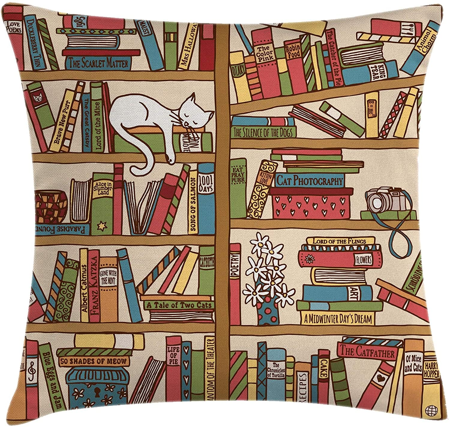 Ambesonne Cat Throw Pillow Cushion Cover, Nerd Book Lover Kitty Sleeping Over Bookshelf Library Academics Feline Boho Design, Decorative Square Accent Pillow Case, 40 X 40, Brown Pink