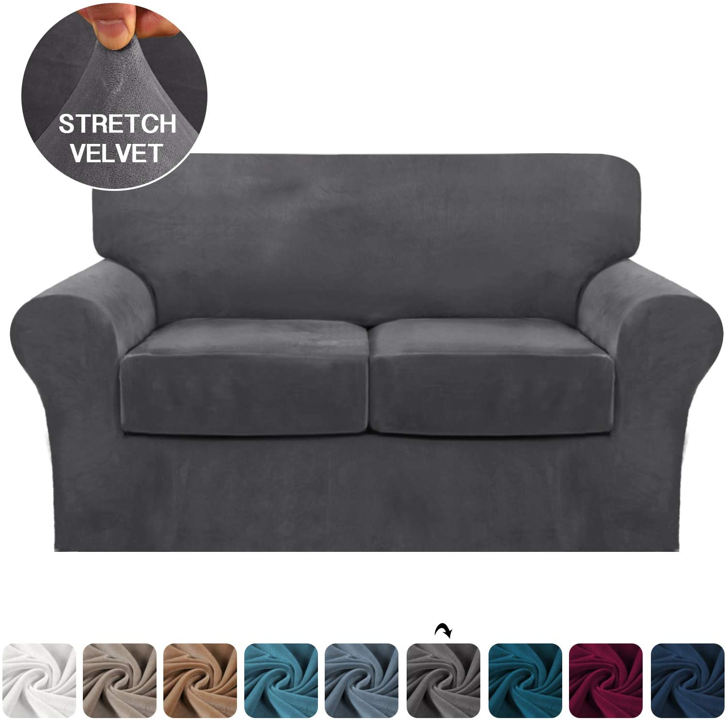 FantasDecor 3 Piece Sofa Cover Stretch Luxury Thick Velvet Loveseat Slipcover Cover with 2 Separate Seat Cushion Covers   Couch Cover Loveseat for Living Room, Secure with Straps (Loveseat,Gray)