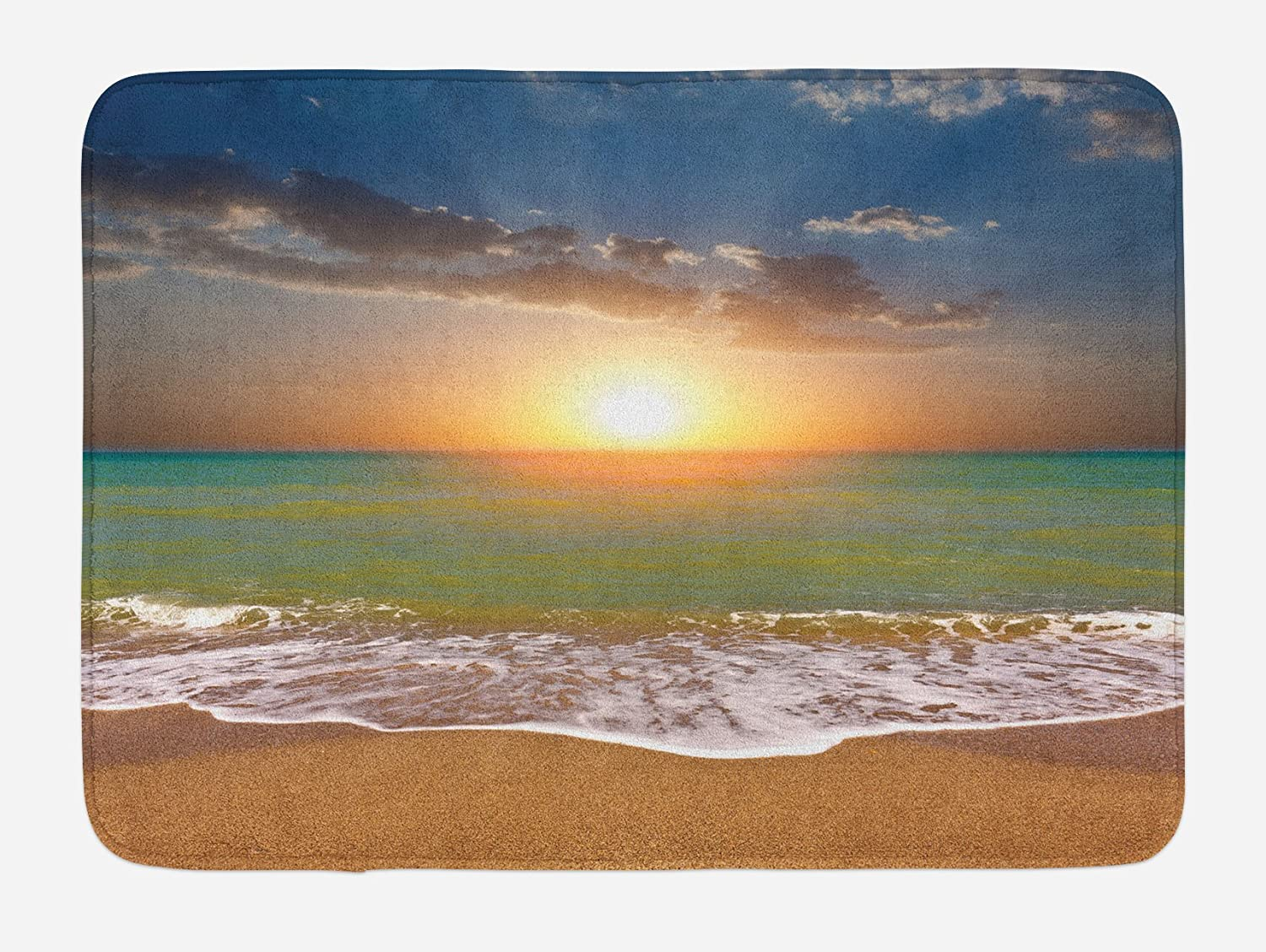 Ambesonne Sunset Bath Mat, Idyllic Scenery at The Beach with Dramatic Sky Setting Sun and Ocean Tranquil View, Plush Bathroom Decor Mat with Non Slip Backing, 29.5