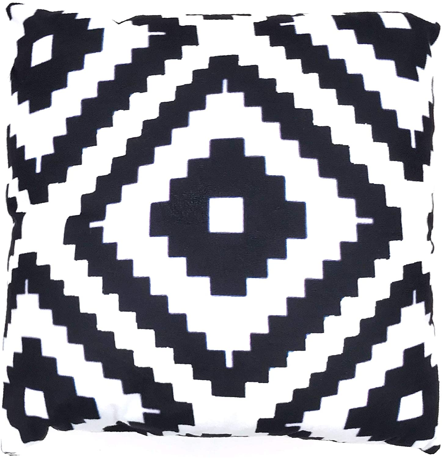 Artsybb Geometric Pattern Pillow Cover - Pure White and Black Short Plush Throw Cushion Covers Home Decorative for Sofa - 18 x 18 Inch - Modern Square Shape in Pure White - Plush Material