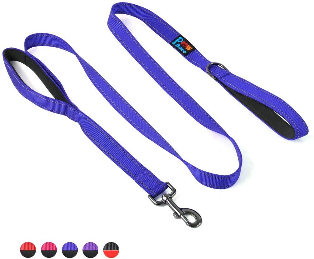 Powboro Double Handle Dog Leash, Heavy Duty Leash, Traffic Padded Handle, Reflective Stitching,6ft Long Dog Lead for Control All Dog Safety Training Walking Hiking