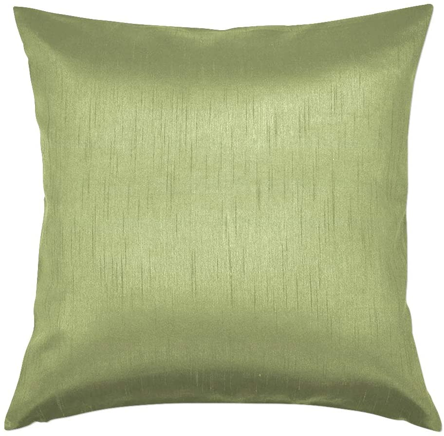 Essencea 18x18 Inches Faux Silk Square Throw Pillow Cover Solid Color Decorative Soft Shiny Pillowcase/Sham with Sturdy Hidden Zipper for Sofa | Bedroom | Living Room | Car (Sage Green)
