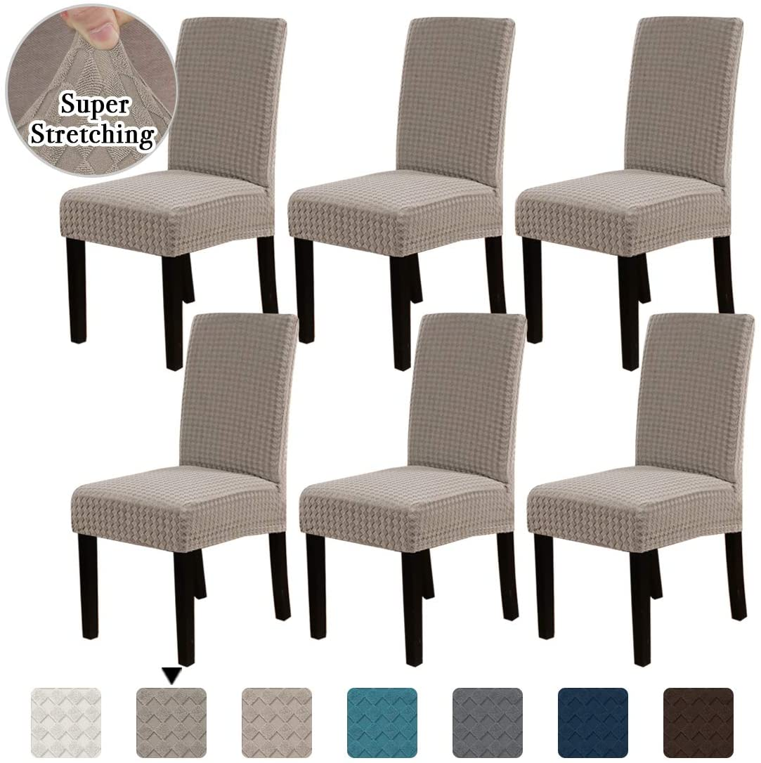 Flamingo P Dining Chair Covers Stretch Chair Covers Parsons Chair Slipcover Chair Seat Protector Cover Chair Covers for Dining Room (Set of 6, Taupe)