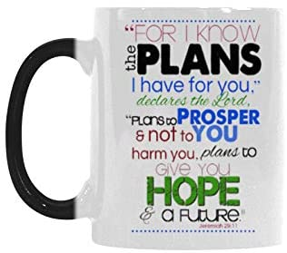 Novelty Design 11oz Bible Verse Mug - Jeremiah 29:11 For I Know The Plans I Have For You Color Changing Mug Morphing Coffee Mugs Cup - Top Quality