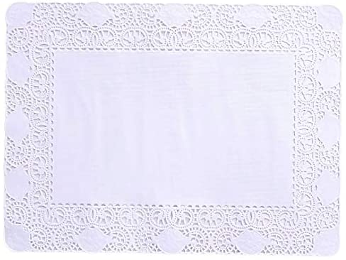 Doilykorea- 250pcs. Premium Rectangular Lace paper doilies- Non-Dust, Clean Cut, Simple design : Party/Gift/for Cake Crafts/Home Decor Weddings Table settings Placemats [9.84 x 13.77 inch, pure White]