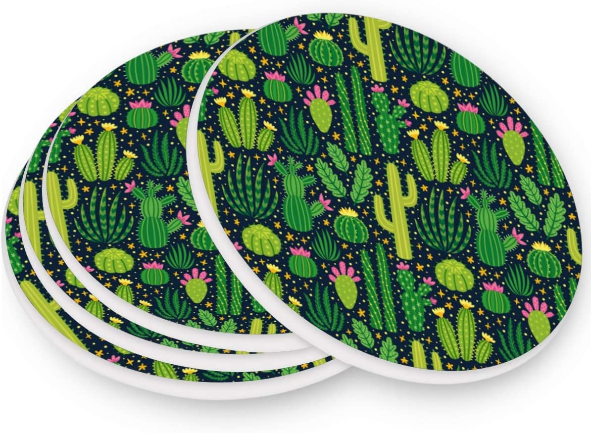 visesunny Green Cacti Desert Plant Drink Coaster Moisture Absorbing Stone Coasters with Cork Base for Tabletop Protection Prevent Furniture Damage, 4 Pieces