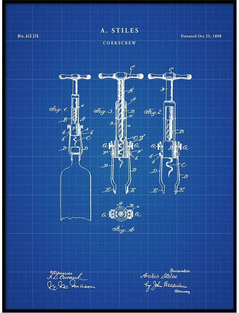Patent Print of an 1898 Cork Screw Patent, Art Print, Patent Poster, Wine, Wine Art, Wine Tasting, Wine Decor, Bar, Corkscrew, QP456
