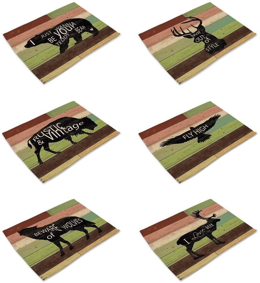 HACASO Set of 6 Vintage Style Painting Animals Pattern Dining Table Mats Cotton Linen Placemats