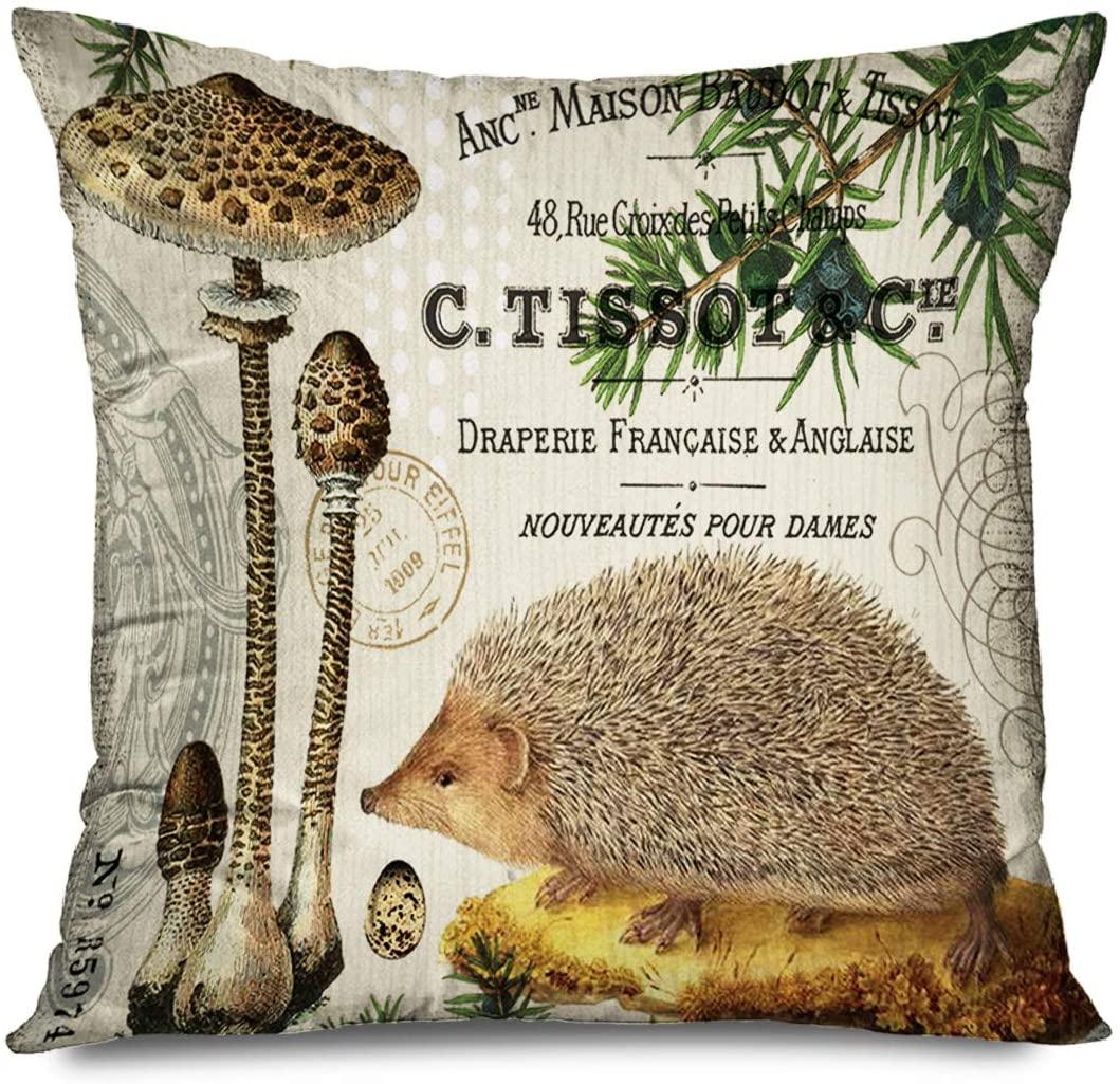 FAREYY Rustic Pillowcase Vintage Adorable Animals Hedgehog Mushroom Decorative Throw Pillows Cushion Cover for Bedroom Sofa Living Room 16 x 16 Inches