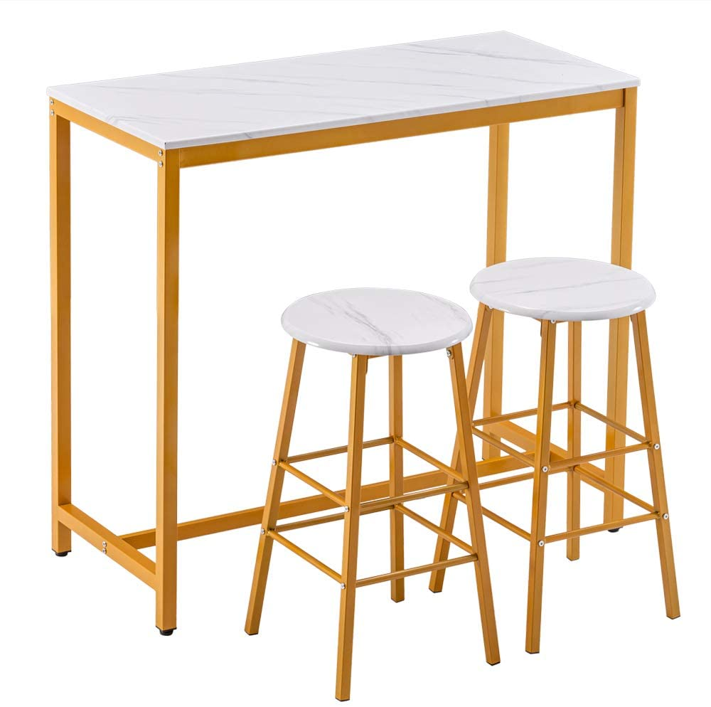Simple Bar Table with Round Bar Stool Golden Paint Legs (1 Table and 2 Stools) PVC Marble White (41.8 x 18.5 x 36.2) inch