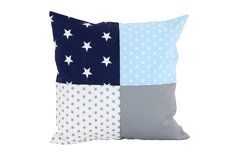 "Soft Cotton Nursery Throw Pillow Cover by ULLENBOOM | Polka Dot/Star | Decorative Euro Sham | 18"" x 18"" - Unisex Blue/Grey"