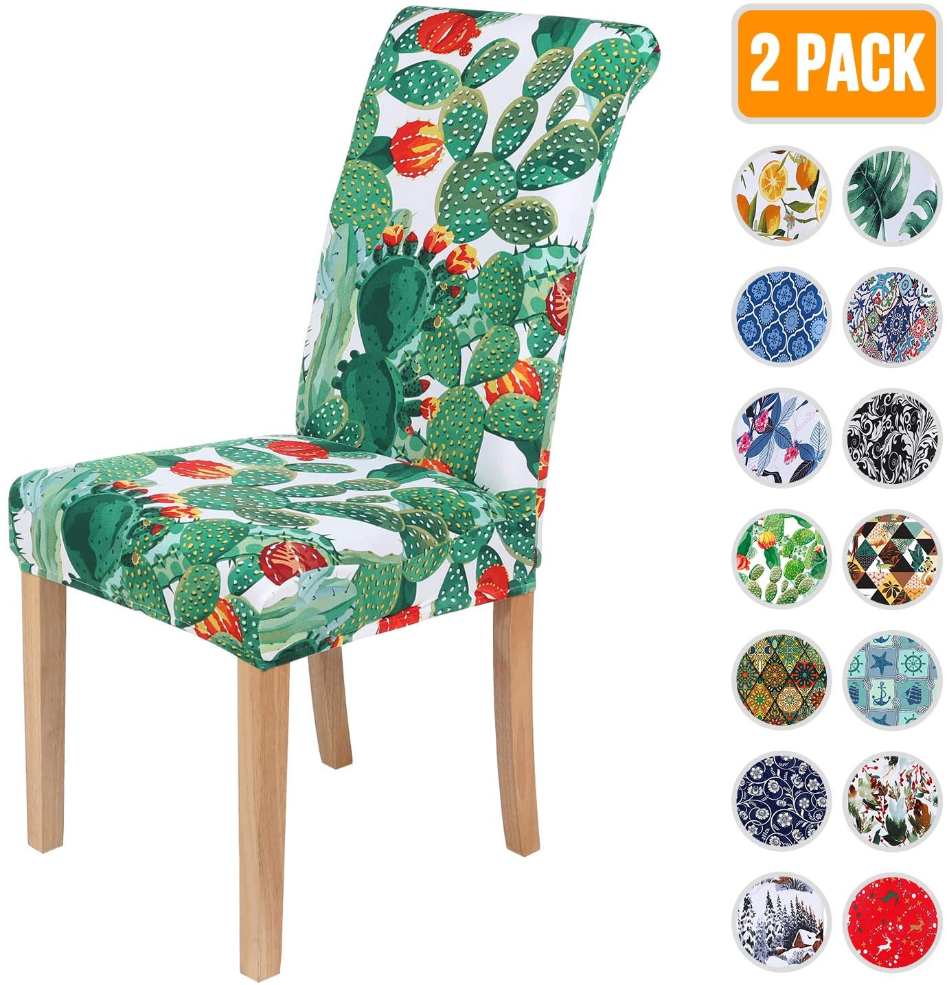 Colorxy Spandex Chair Covers for Dining Room Set of 2, Stretch Printed Chair Protectors Covers, Removable and Washable, Cactus