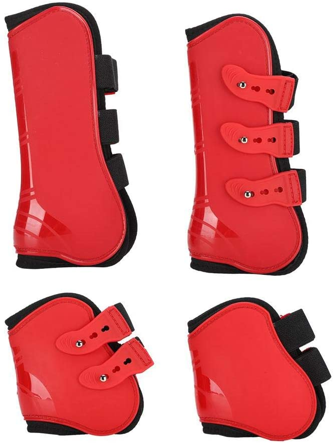 GLOGLOW Horse Leg Boot, 4Pcs Fore and Hind Leg Boots Adjustable Leg Guard Protector Horse Riding Equipment for Jumping Riding Eventing Dressage